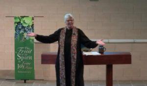 Pastor Peggy on Chancel